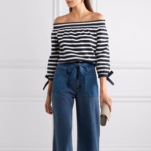 J.crew of the shoulders striped blouse. Size M